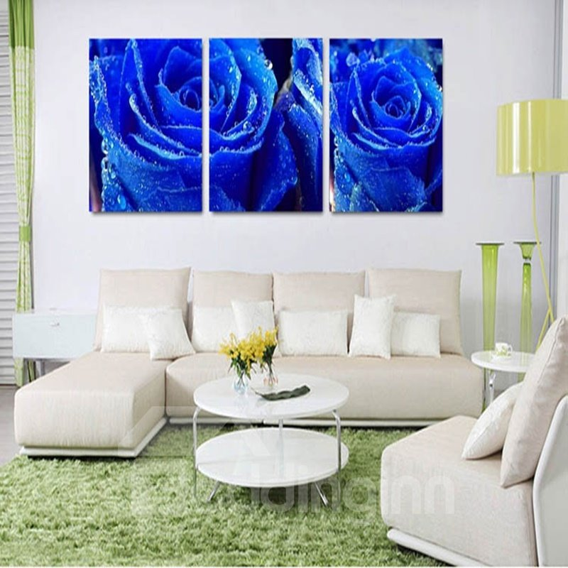 Blue Roses Pattern Fabric 3-panel Ready to Hang Framed Wall Art Prints