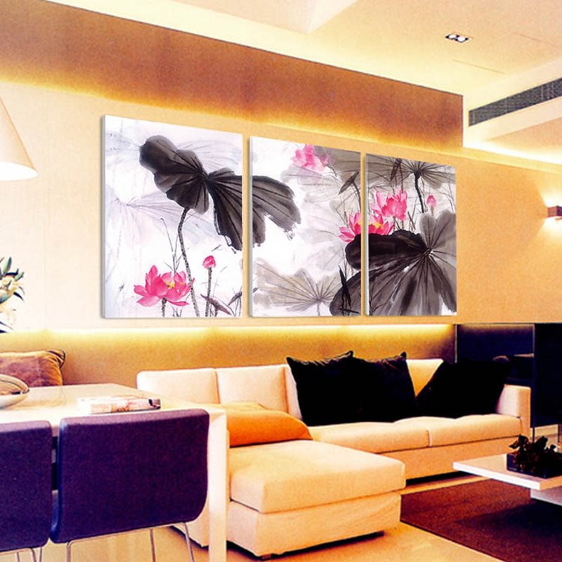 Classic Lotus Flowers Pattern Design 3 Panels Ready to Hang Framed Wall Art Prints