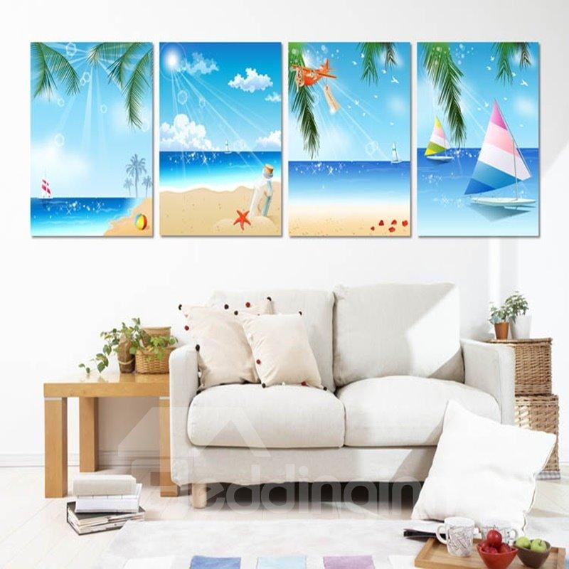 Blue Summer Seaside Scenery Pattern 4 Panels Waterproof Framed Wall Art Prints