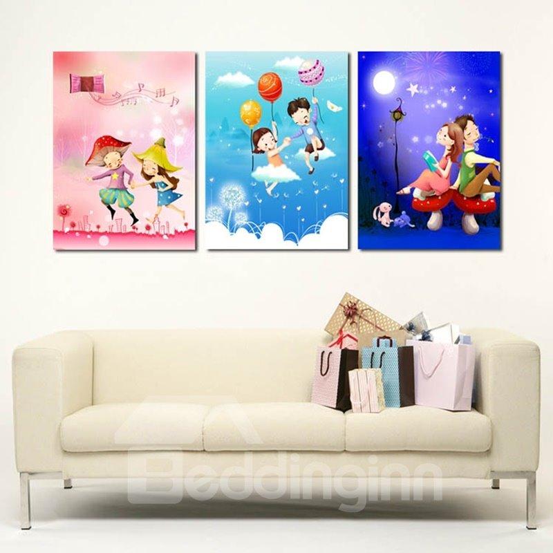 Fancy Lovely Boy and Girl Pattern 3 Panels Framed Wall Art Prints
