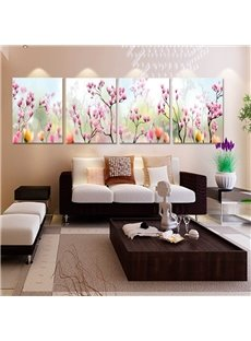 Natural Pink Flower Buds Pattern 4 Panels Framed Canvas Art Prints
