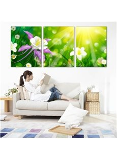 Green Flowers Pattern 3 Panels Ready to Hang Framed Wall Art Prints without Wooden Frame