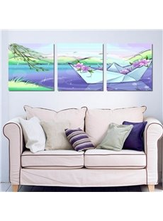 Dreamy Paper Boat Design 3 Panels Ready to Hang Framed Wall Art Prints