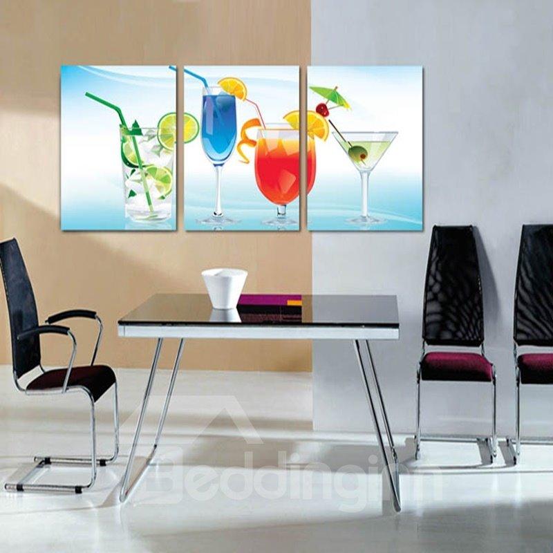 Cool Beverage Cups Pattern 3 Panels Framed Wall Art Prints