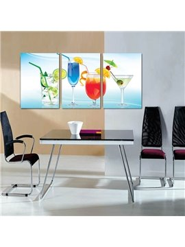 Cool Beverage Cups Pattern 3 Panels Framed Wall Art Prints