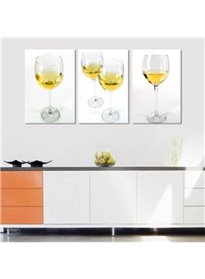 White Simple Style Wine Glasses Pattern 3 Panels Framed Wall Art Prints