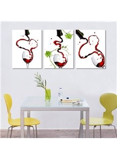 Creative Pouring Red Wine Pattern Design 3 Panels None Framed Wall Art Prints