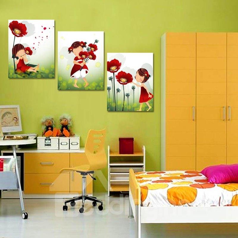 Lovely Cute Little Girls and Flowers Pattern Framed Wall Art Prints
