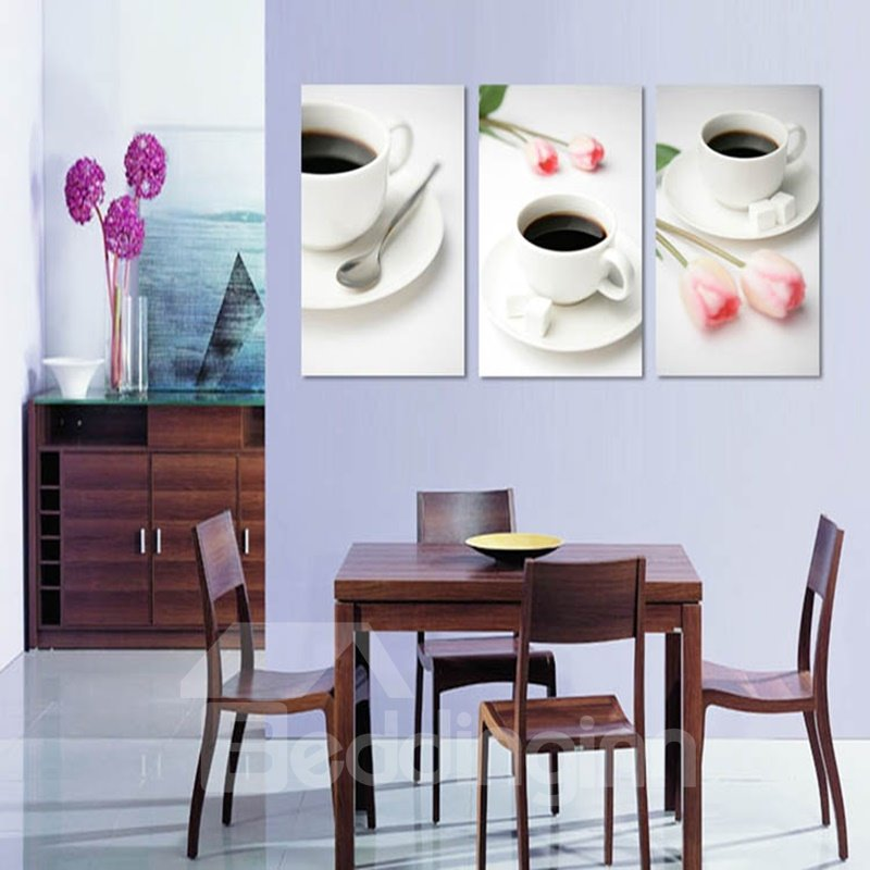 White Fresh Coffee Cups and Flowers Pattern Design 3 Panels Framed Wall Art Prints