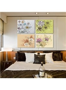 16×16in×4 Panels Flowers Painting Hanging Canvas Waterproof and Eco-friendly Framed Prints