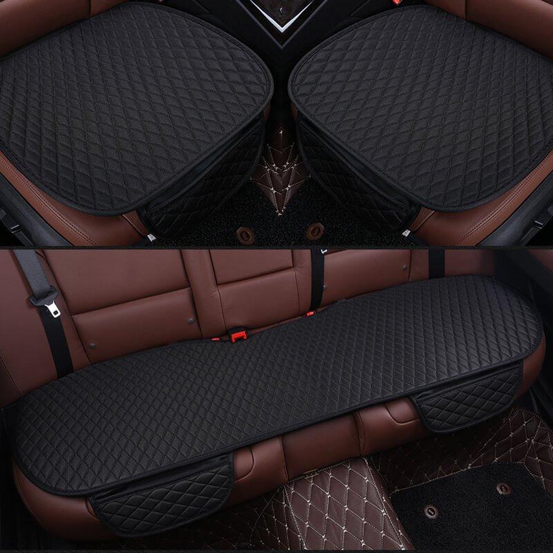 Classic Black Diamond Design Durable PET Material 3-Pieces Set No Back Car Seat Mat