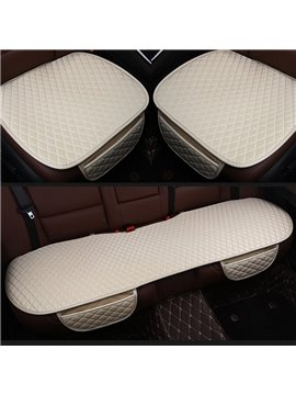 Four Seasons Diamond Design Durable PET Material 3-Pieces Set No Back Car Seat Mat