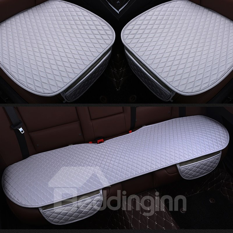Calmly Gray Diamond Design PET Material 3-Pieces Set No Back Car Seat Mat