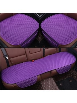 Attractive Purple Diamond Design PET Material 3-Pieces Set No Back Car Seat Mat