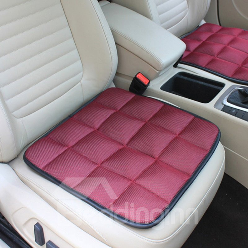 Charming Wine Red Free Bundle Grid Design Durable PET Material 1-Piece Single Front Seat Mat