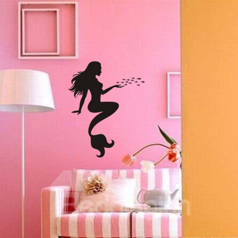 Gorgeous Simple Style Black Mermaid Pattern Decorative Wall Stickers