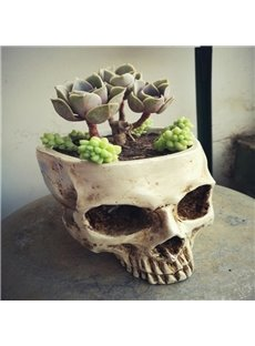 White Resin Fearful Skull Shape Design Desktop Decoration Flower Pot