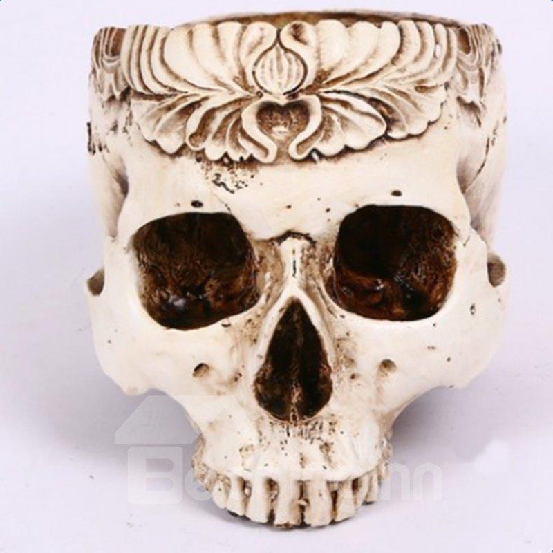 White Resin Fearful Skull Shape Design Desktop Decoration Flower Pot