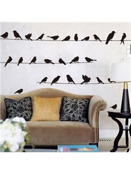 Decorative Magpies Standing on the Line Pattern Design Wall Stickers