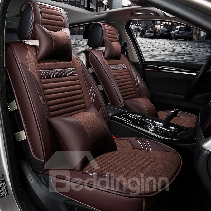 Classic Business Coffee Color Luxury Cost-Effective Universal Durable PET Material Five Car Seat Cover