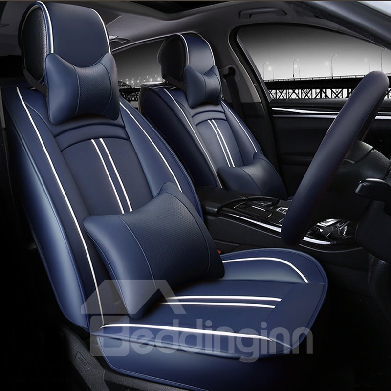 luxury classic sport style pu leatherette material universal five car seat cover. Black Bedroom Furniture Sets. Home Design Ideas