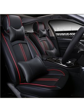 High-Grade Classic Black Business Style PU Leatherette Material Universal Five Car Seat Cover