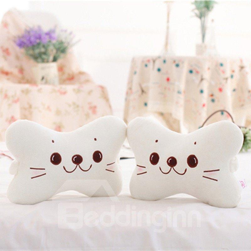 Smiling Face 1-Pair Lovely Sea Lion Cartoon Design Soft Velvet Creative Car Headrest Pillow