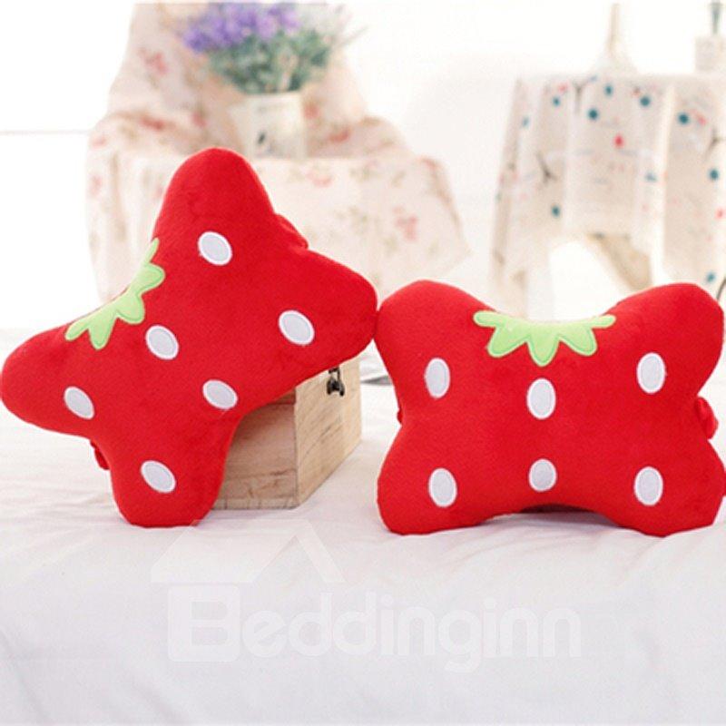 Charming 1-Pair Lovely Red Strawberry Design Soft Velvet Creative Car Headrest Pillow