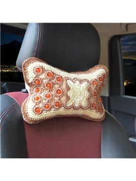High-Grade Traditional Handmade Craftsmanship Embroidery Craft 1-Pair Synthetic Fiber Material Car Headrest Pillow