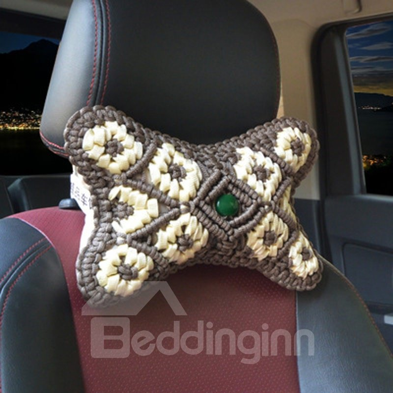 Pure Hand Weaving Craft Synthetic Fiber Material Good Breathable 1-Pair Car Headrest Pillow