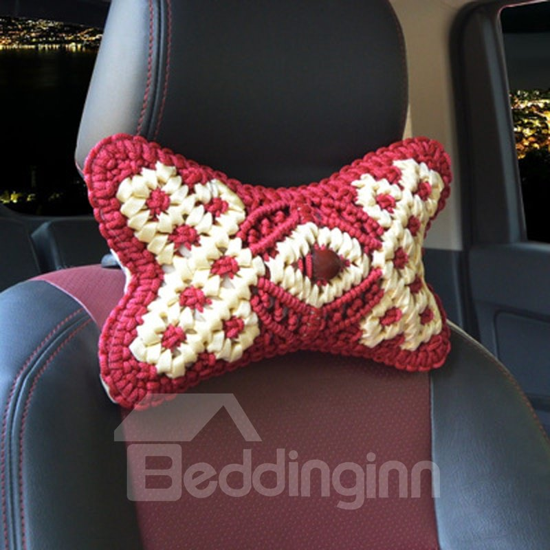 Luxury 1-Pair Pure Hand Weaving Craft Synthetic Fiber Material Good Breathable Car Headrest Pillow