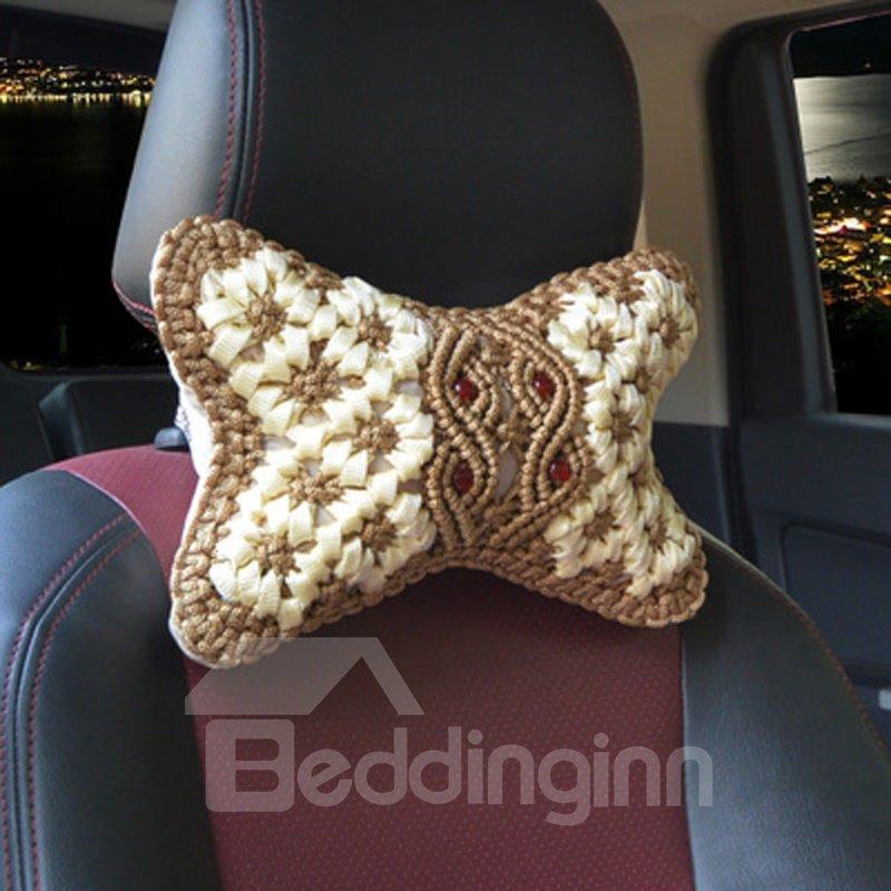 Traditional Handmade Craftsmanship Pure Hand Weaving Synthetic Fiber Material Car Headrest Pillow