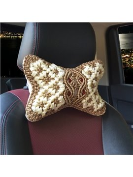 Traditional Handmade Craftsmanship Pure Hand Weaving Synthetic Fiber Material Car Headrest Pillow