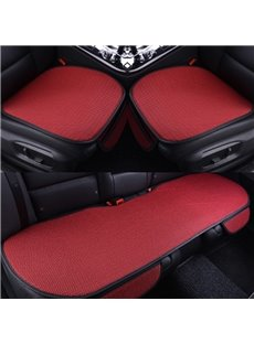 Charming Red Color Durable PET Material Good Breathability Universal 3-Pieces Five Car Seat Mat