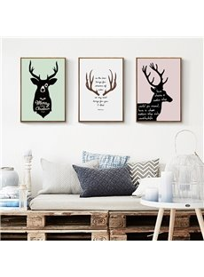 Modern Creative Deer Pattern Design Canvas Framed Wall Art Prints