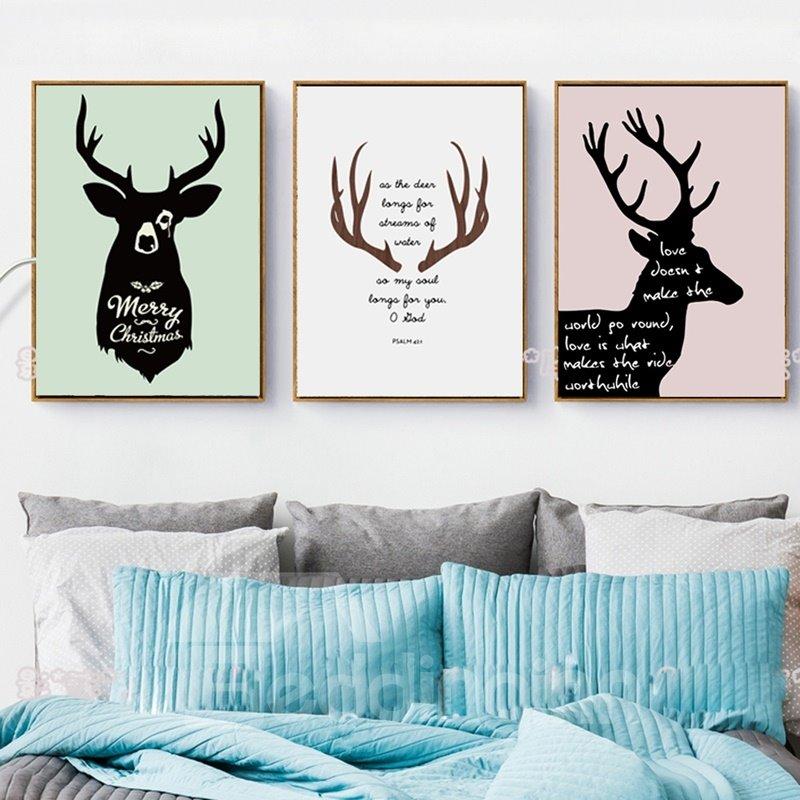 Modern Creative Deer Pattern Design Canvas Framed Wall Art Prints