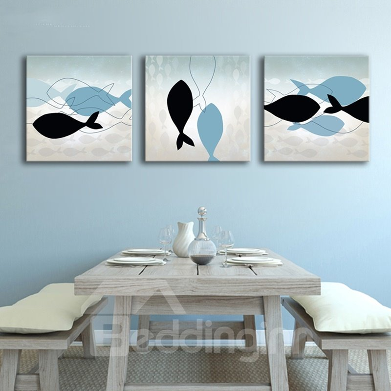 Simple Style Fishes Pattern Design Ready to Hang Framed Wall Art Prints