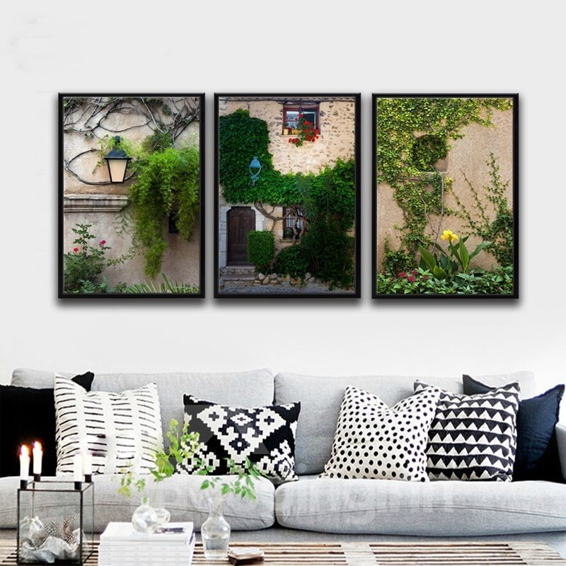 European Small Town Scenery Pattern 3 Pieces Framed Wall Art Prints