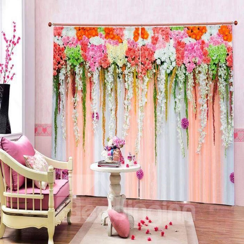 Romantic Flowers Wall Printed Living Room and Bedroom Polyester Curtain