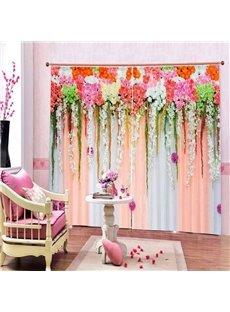 Romantic Flowers Wall Printed Window Decor 3D Curtain