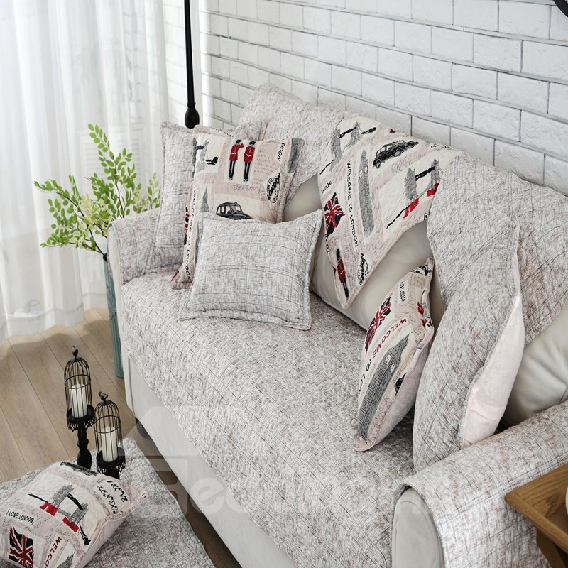European Style Cotton Quilting Cushion Slip Resistant Sofa Covers