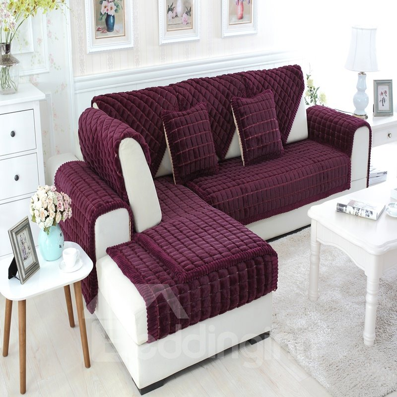 Gorgeous Polyester and Rabbit Wool Thicken Four Seasons Slip Resistant Decorative Sofa Covers