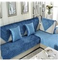 Blue Simple Style Thicken Quilting Cushion Slip Resistant Sofa Covers