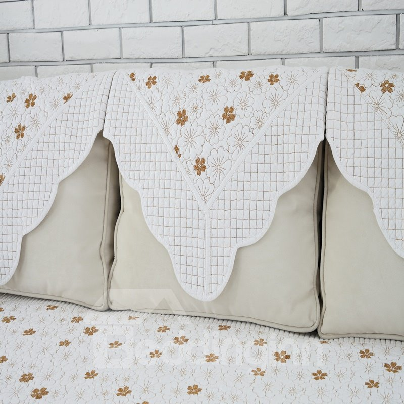 White Flowers Prints Design Slip Resistant Quilting Cushion Sofa Covers