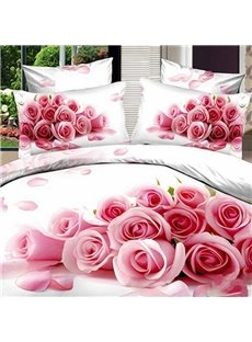 Beautiful 3D Pink Rose Printed Cotton 2-Piece Pillow Cases