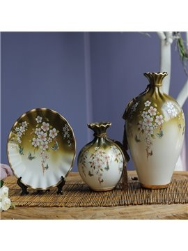 European Style Flowers and Birds Pattern Design Decorative Painted Pottery
