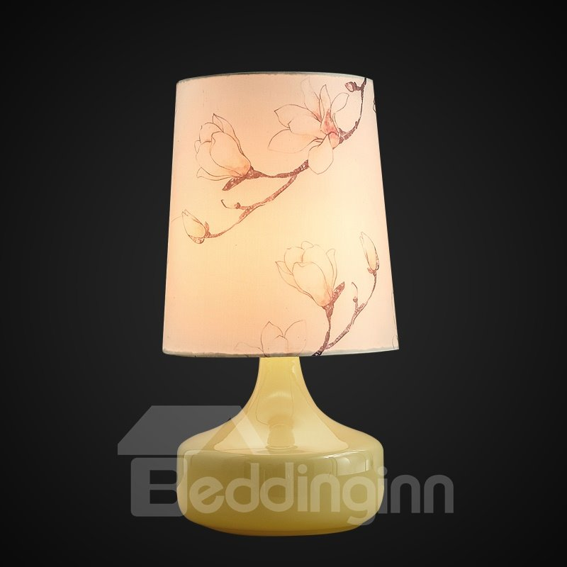 Elegant Fabric Flower Prints Shade Home Decorative Table Lamp