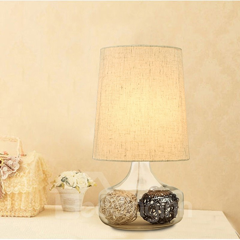 White Unique Two Balls of String Design with Fabric Shade Decorative Table Lamp