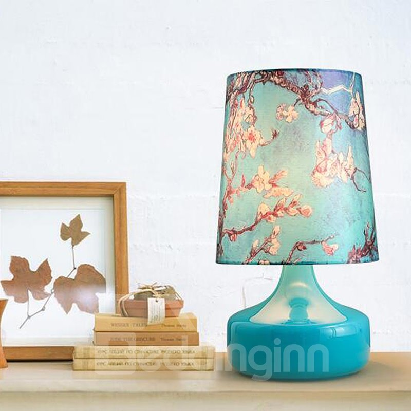 Blue Beautiful Country Style Flower Prints Design Decorative Table Lamp