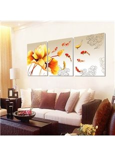 20×20in×3 Panels Lotus and Goldfishes Hanging Canvas Waterproof and Eco-friendly Framed Prints